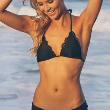 Cutout Scalloped Swim Bottoms Black