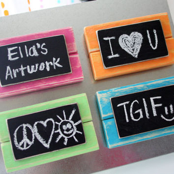 Mini Frame Chalkboard Magnets - Distressed Wood - Set of 4 - Summer Colors - Pink, Orange, Green, Blue