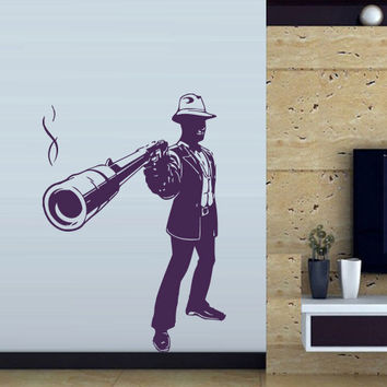 Wall decal art decor decals sticker bedroom hand power man gangster mafia showdown gun pistol (m44)
