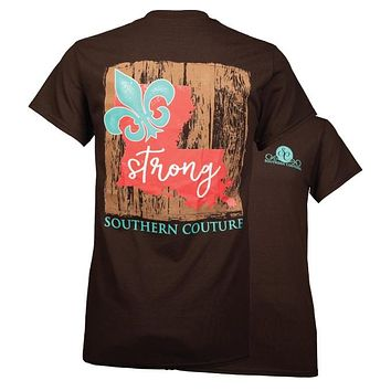 Southern Couture Louisiana Strong Fleur de lis T-Shirt