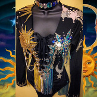 Sun and Moon Bodysuit & (headband/ choker): Rave wear, rave bra, edm, edc, halloween, costume, romper, playsuit, festival, plur, fashion