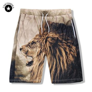 Unicomidea Men's Casual Beach Shorts Fashion Brand Boardshorts Funny Print Lion Men Short Pants 3d Male Shorts