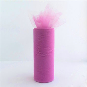 Tulle Spool Fabric Net Roll, 6-inch, 25-yard, Fuchsia