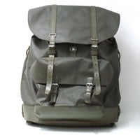 SWISS ARMY BACKPACK 1981, Military Leather & Rubberised Waterproof Canvas Bag, Fishing, Large Rugged Men's Rucksack from Switzerland