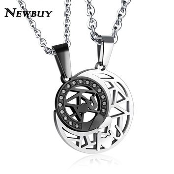 NEWBUY Romantic Lovers' Jewelry 3 Colors Stainless Steel Sun&Moon Couple Pendant Necklace For Women Men Forever Love