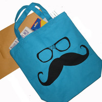 Moustache and Nerd Glasses  Double Sided Print Canvas by lastearth