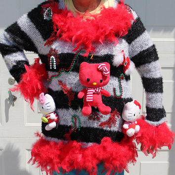 Tacky Ugly Sexy Hello Kitty Red OHLALA Christmas Party Sweater XXL
