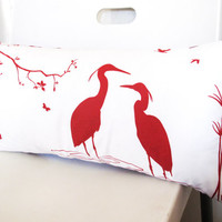 Red Print on Off White Cotton Egret Lovers in the Swamp Rectangle Pillow