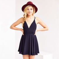 Casual Spaghetti Strap Criss Cross Back Mini Dress