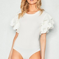 Cora White Layered Frill Short Sleeve Bodysuit Missy Empire