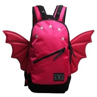 CrazyPomelo Trendy Bat Wings Canvas Large Travelling Backpack (Red)