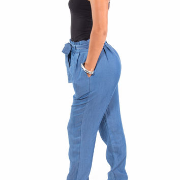 High Waist Tencel Pants