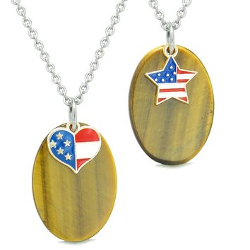Proud American Flag Super Cute Heart and Star Love Couples BFF Set Tiger Eye Amulet Necklaces