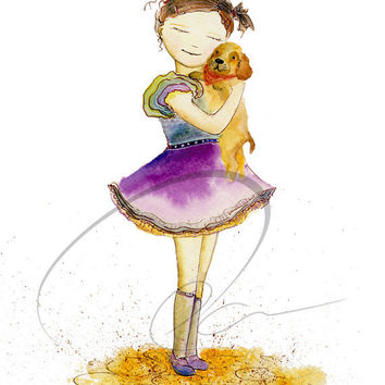Puppy  Love - art print cute girls room little girl dog hug dream wish purple nursery wall decor watercolor painting Oladesign 8x10