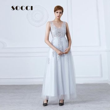 Gray Lace Beading Long Evening Dress 2016 Sexy backless Formal bride Elegant banquet Dresses Floor-length wedding Party Gowns