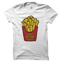Fries before guys - Funny food quote - Gray/White Unisex T-Shirt - 008