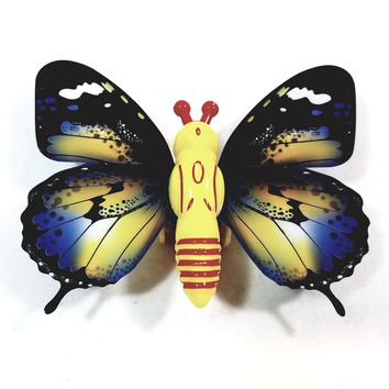 """Cute Insect Black & Yellow Wing Mini Yellow Butterfly Moving 5.15"""" Wingspan Wind Up Plastic Figure Toy"""