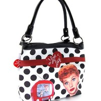 I Love Lucy LU813 Polka Dot Medium White Purse, 2014 Fashion