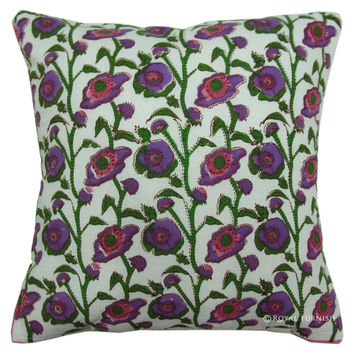 White Hand Block Floral Decorative Accent Toss Pillow Case