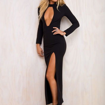 Gigi Black Cut Out Maxi Dress