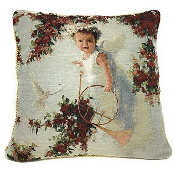 Tache Cupid's Horn 18 x 18 Inch Woven Tapestry Throw Pillow Cushion Cover (16375)