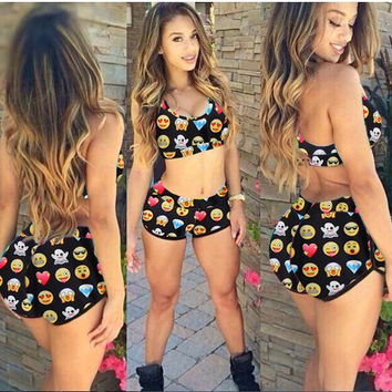 New Fashion Women's Summer Sexy Emoji Bikini 2 Piece Swimsuit Beach Emoji Swimwear Fitness Bodysuit = 1956645508
