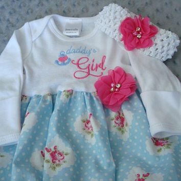 Daddy's Girl Coming Home Outfit Going home from Hospital Outfit Baby Gown  with Head Band -NewBorn size Ready To Ship
