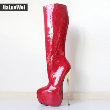 jialuowei 22CM Ultra High Heel Gold Metal Heels PU leather Zipper Knee High Platform Women Sexy Fetish Dance Motorcycle Boots