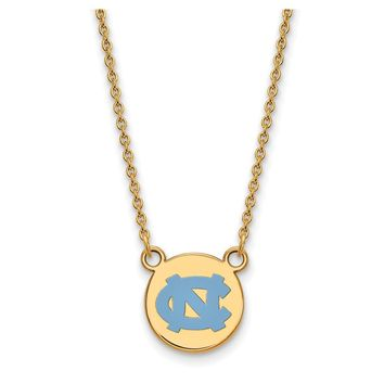 NCAA 14k Gold Plated Silver North Carolina Sm Enamel Pendant Necklace