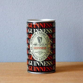 Guinness vintage aluminium beer can 80s home decor kitchen white red gold navy blue