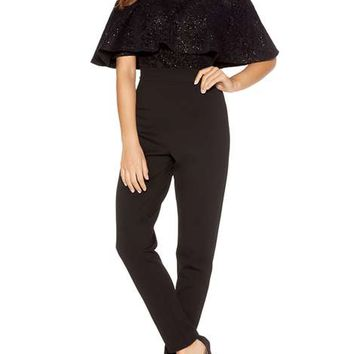 **Quiz Glitter Bardot Frill Jumpsuit - Rompers & Jumpsuits - Clothing