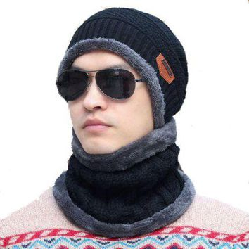 ac PEAPO2Q New Fashion Hats Men Winter Wool Ski Hat scarf Set Head hooded Cap Earmuffs Head Caps Male beanie mask balaclava gorro masculino