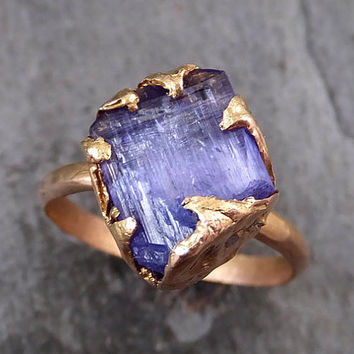 Raw Tanzanite Crystal Rose Gold Ring Rough Uncut Gemstone tanzanite diamond recycled 14k stacking cocktail statement byAngeline 0014