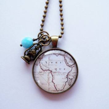 Map of Africa in French - 30mm - Map Pendant Necklace - Custom Jewelry - Travel Necklace - You Choose Bead and Charm - Adoption Jewelry