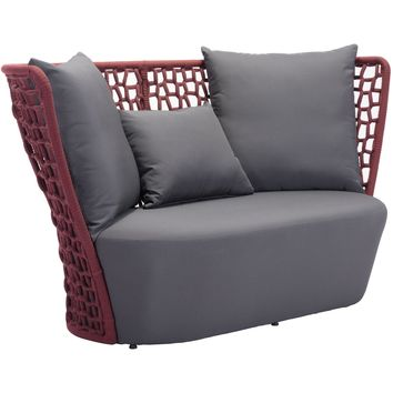 Faye Bay Beach Outdoor Sofa Cranberry & Gray