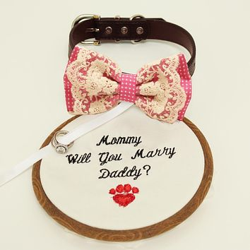 Hot pink lace bow tie dog collar, lace Bow and handmade Embroidery sign attached to leather collar, will you marry me, Proposal Marry me