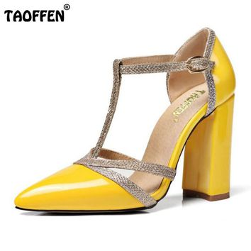 TAOFFEN 7 Colors Size 34-48 Sexy Lady High Heel Sandals Women Ankle Strap buckle Sandal Office Summer Shoes Women Footwear