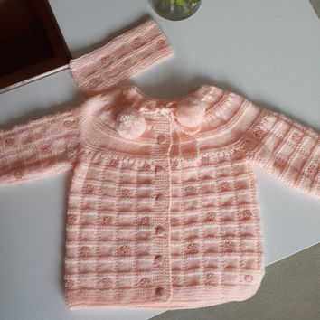 free shipping/girl cardigan/baby cardigan/wool/jumper/hairband/babies/girl/toddler/knitting/knit/clothes/handmade/gift