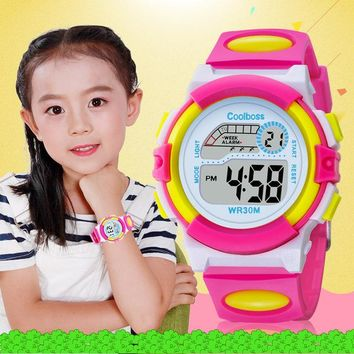 Coolboss Children Wristwatches LED Electronic Double Display Watch Fashion Boy Girl Clock Waterproof Battery Durable Watches
