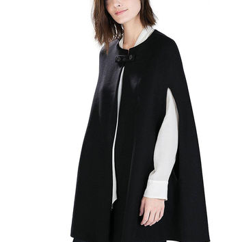 Black Collarless Cape Coat