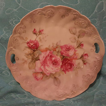 Vintage Handled German Cake Plate EmbossedWith Pink Floral Design and Scalloped Edges
