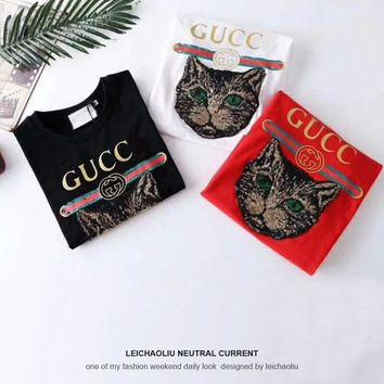 2018 new summer sequins cat head clothes loose round-necked tops lovers short-sleeved women