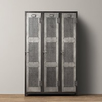 Vintage Locker 3-Door Perforated Cabinet