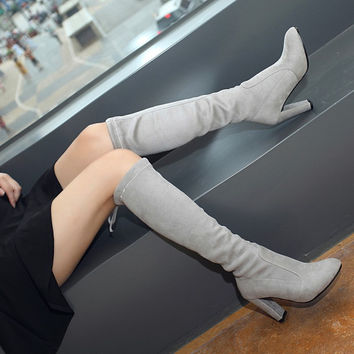 Suede Round Toe Back Strap High Block Heel Knee High Boots
