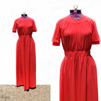 Vintage MAXI Dress •  Kollection Dress Coral 1960s • Gown • Retro • Full Length Dress • 60s