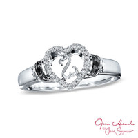 Open Hearts by Jane Seymour™ Enhanced Black and White Diamond Accent Promise Ring in Sterling Silver - Size 7