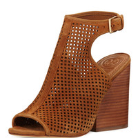 Tory Burch Jesse Perforated Open-Toe Bootie, Tan