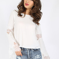 Lace Bell Sleeve Peasant Top WHITE | MakeMeChic.COM