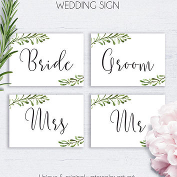 Greenery Wedding Chair Sign, Rustic Printable Wedding Sign, Wedding Reception, Digital Wedding Sign, Bride Sign, Groom Sign, Mr Sign