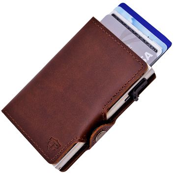 Card Blocr RFID Blocking Credit Card Wallet Distressed Brown Leather & Silver with Side Slide Trigger & Snap Closure
